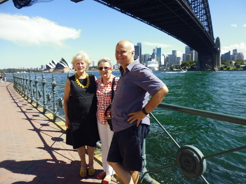 Deborah; Adie and Keith; lunch on the harbour